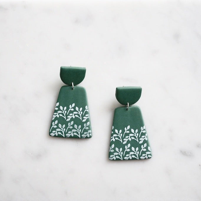 Floral Print Polymer Clay Earrings, Green