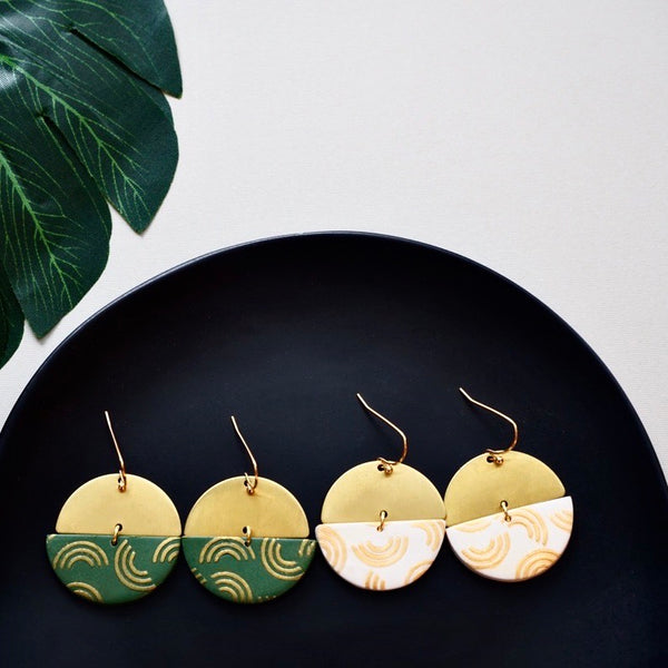 Half Moon Polymer Clay & Brass Earrings