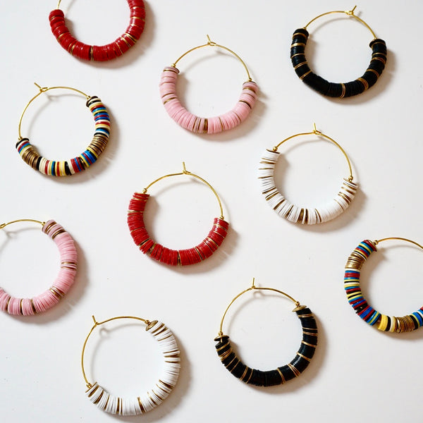 Vinyl Phono & Brass Beaded Medium Hoops
