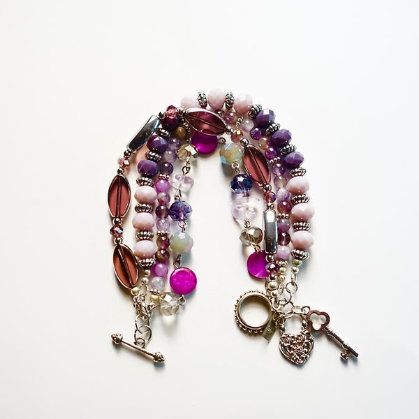 Multi Strand Glass & Amethyst Gemstone Bracelet