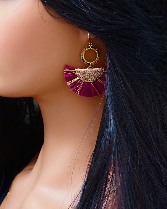 Plum Raffia Straw Fan Earrings
