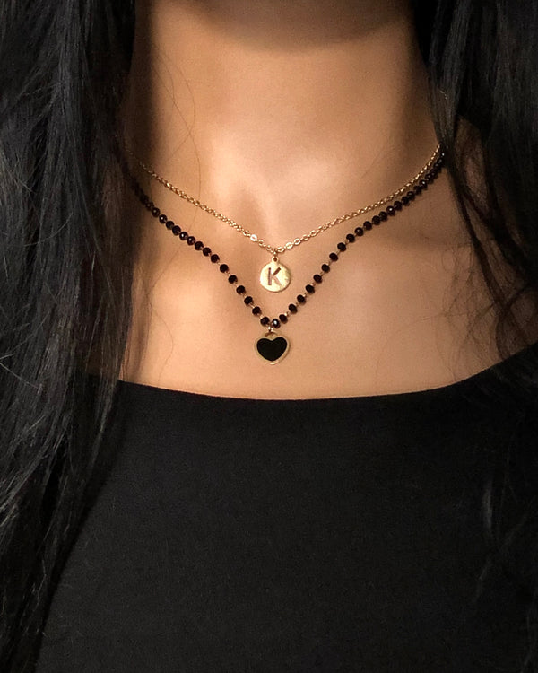 Gold Initial & Black Beaded Necklace Set