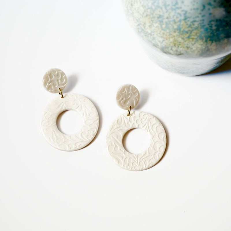 Polymer Clay Flower Print Earrings, Pearl Color