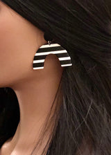 Acetate Arch Black & White Stripe Earrings