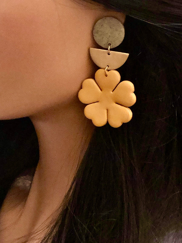 Polymer Clay Flower & Brass Half Moon Earrings