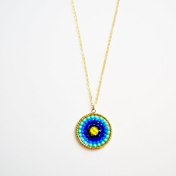 Blue Mix Beaded Crystal Woven Pendant Necklace