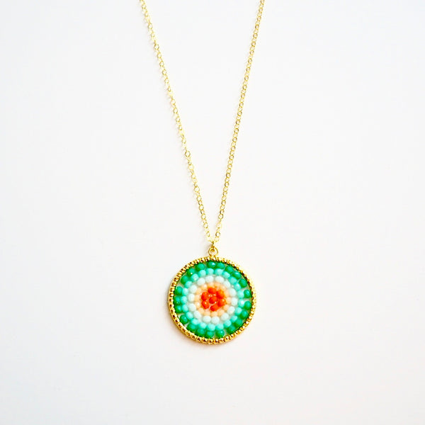 Turquoise Mix Beaded Crystal Woven Pendant Necklace