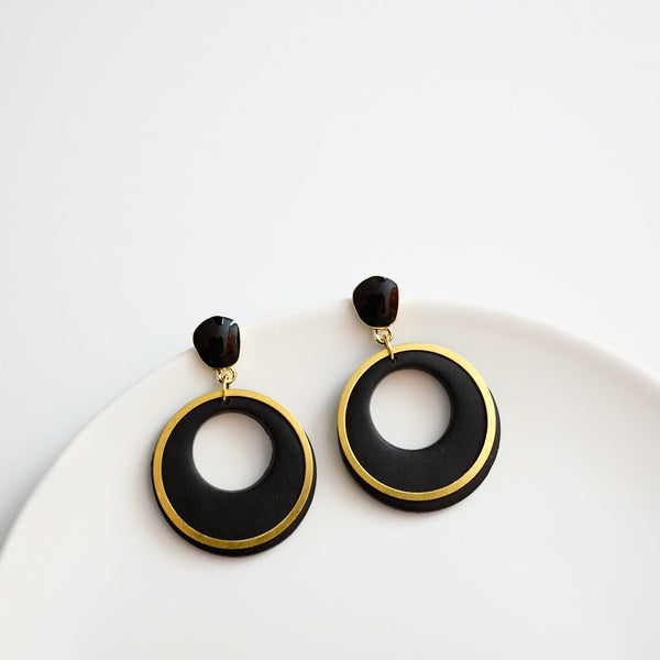 Brianna Polymer Clay Earrings, Black