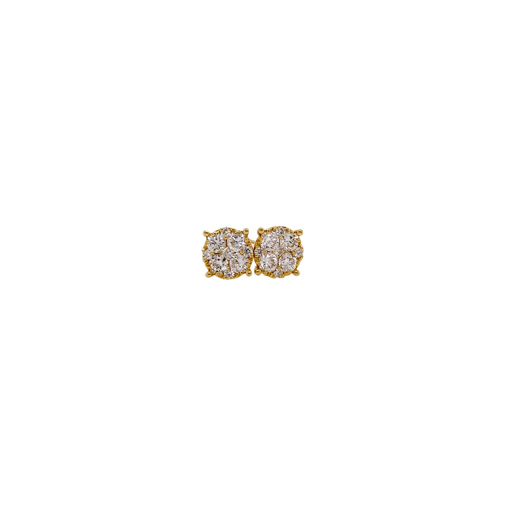 Yellow Gold Round Diamond Earrings
