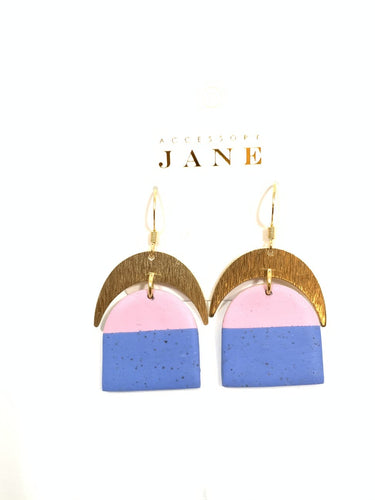 Single Moon Color block Earring in Lilac and Periwinkle