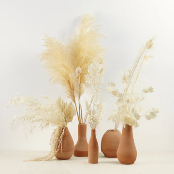 bleached dried flowers in terra-cotta vases Dubai