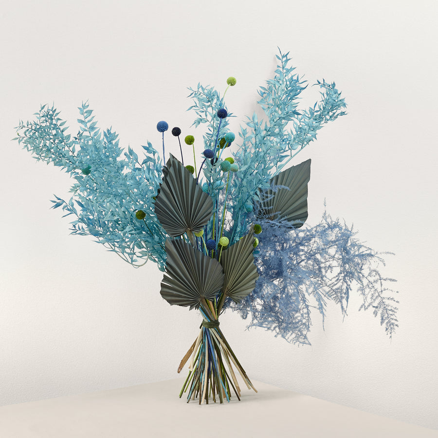 Blue dried floral bouquet