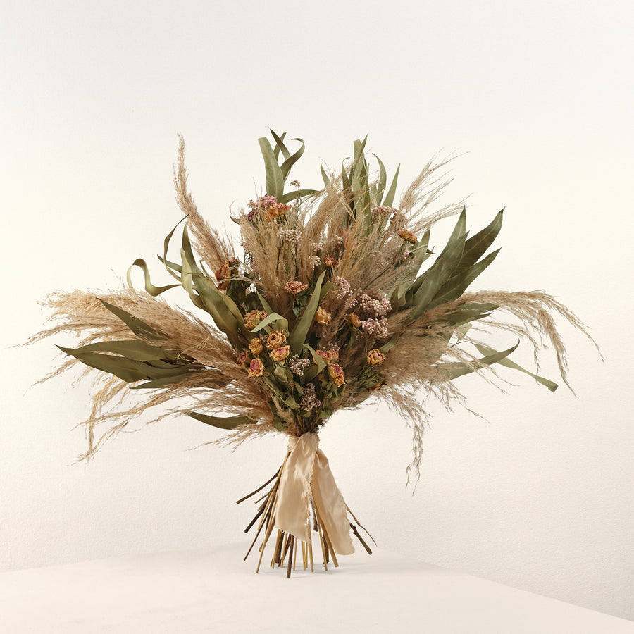 Eucalyptus and dried roses bouquet