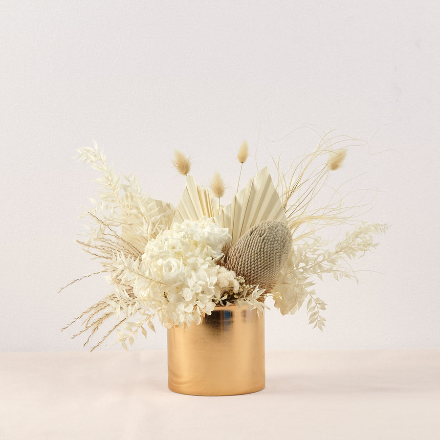 Dried Flower Gold Pot arrangement