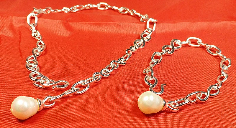 Pearl Drop Pendant with Adjustable Hook, Necklace & Bracelet Set, Trendy  Attractive Hallmark 925 Sterling Silver Chain, Beautiful Jewelry