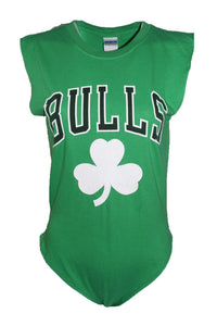 Reworked Vintage Green Chicago Bulls Bodysuit