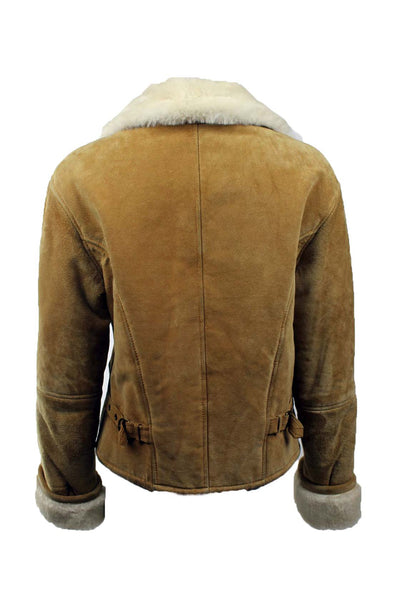 Vintage Fur Collared Suede Moto Jacket