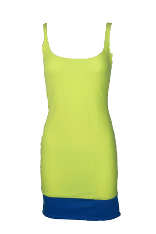 Reworked Vintage Neon Green and Blue Tank Dress