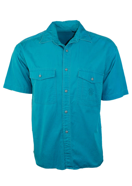 Vintage Short Sleeve Teal Button Down