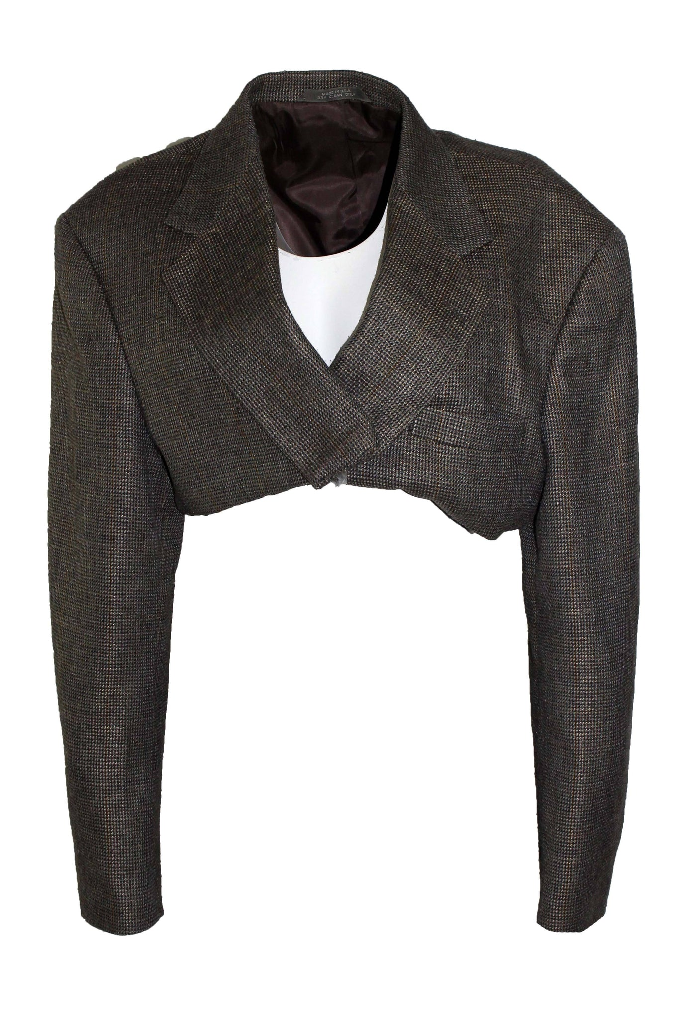 Reworked Vintage Brown and Grey Cropped Blazer