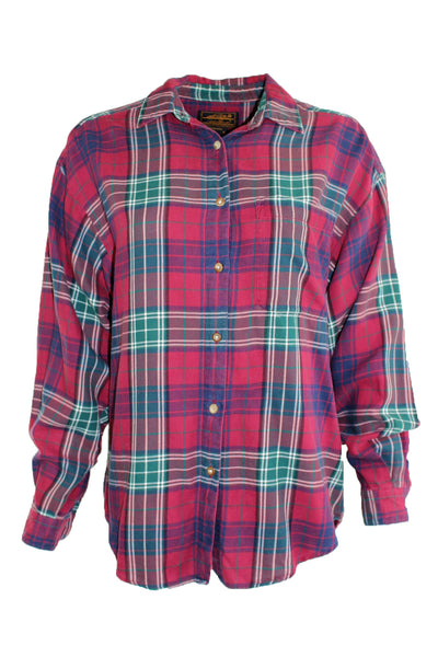 Vintage Eddie Bauer Red Plaid Flannel Button Down