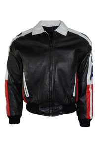 Vintage Phase 2 USA Flag Leather Jacket