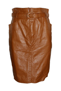 Vintage West Bay Brown Leather Skirt