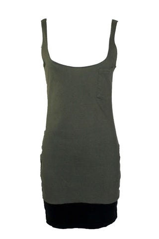Reworked Vintage Olive and Black Tank Dress