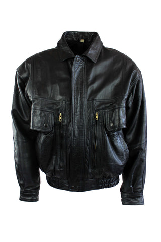 Vintage Leather Bomber Jacket