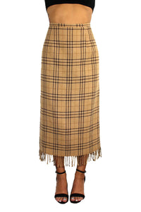 Vintage Brown Plaid Midi Skirt