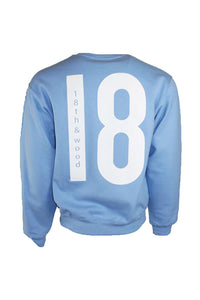 18th & Wood Light Blue Logo Crew