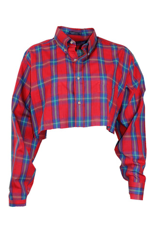 Reworked Vintage Cropped Holiday Plaid