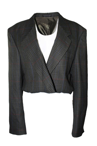 Reworked Vintage Plaid Houndstooth Cropped Blazer