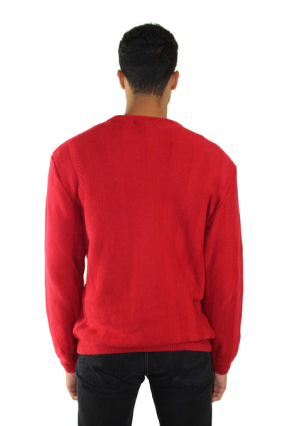 Vintage Crimson Waves Sweater