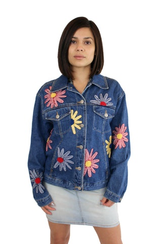 Vintage Flower Power Jean Jacket