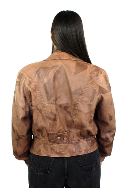 Vintage Brown Cropped Leather Jacket