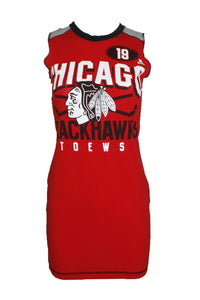 Reworked Chicago Blackhawks Tee Shirt Dress