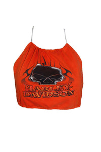 Reworked Vintage Harley Davidson Orange Halter Top