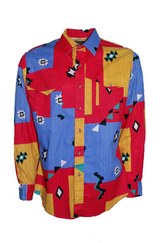 Vintage Wrangler Geometric Western Button Down
