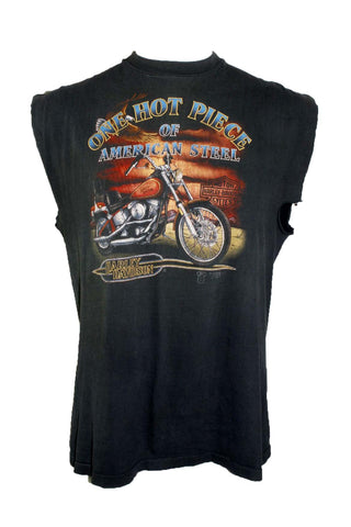 Vintage 1988 Harley Davidson One Hot Piece of American Steel Sleeveless Tee