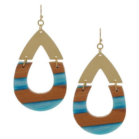 SA RESIN WOOD TDROP EARRINGS