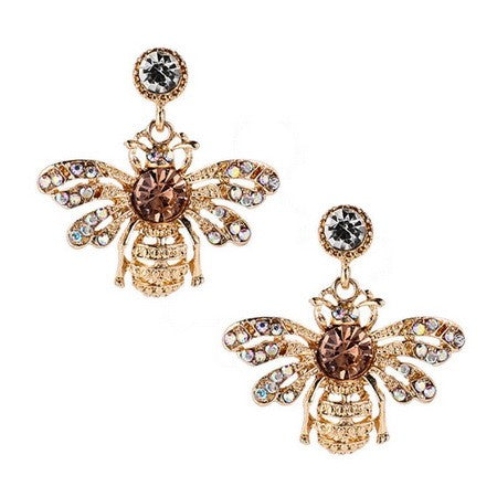 SA CRYSTAL BEE EARINGS GOLD
