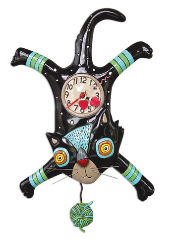 ALLEN DESIGNS CRAFT ATTACK CAT CLOCK 41CM