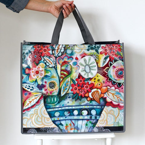 ALLEN DESIGNS FLOWER BLAST SHOPPING BAG