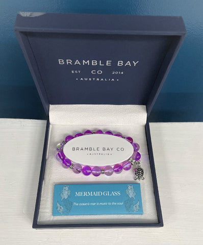 BRAMBLE BAY MERMAID GLASS TURTLE CHARM BRACELET VIOLET