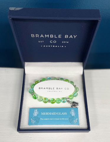 BRAMBLE BAY MERMAID GLASS TURTLE CHARM BRACELET SEAFOAM
