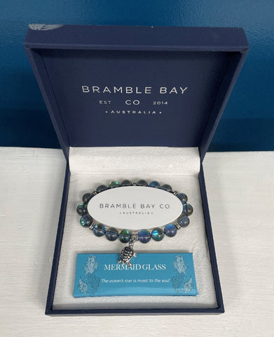 BRAMBLE BAY MERMAID GLASS TURTLE CHARM BRACELET PLUM