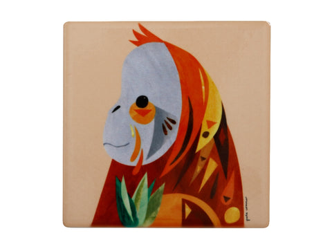 MW Pete Cromer Wildlife Ceramic Square Coaster 9.5cm Orangutan