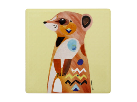 MW Pete Cromer Wildlife Ceramic Square Coaster 9.5cm Meerkat