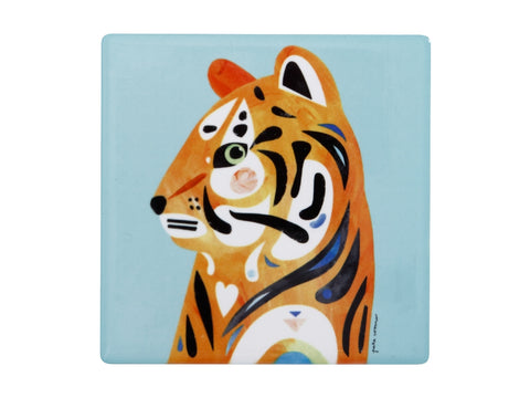 MW Pete Cromer Wildlife Ceramic Square Coaster 9.5cm Tiger